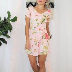 eShakti Cutstom Pink Floral Romper Wrap Skort